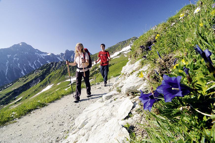 Wandern in den Tannheimer Bergen, Tirol, Österreich