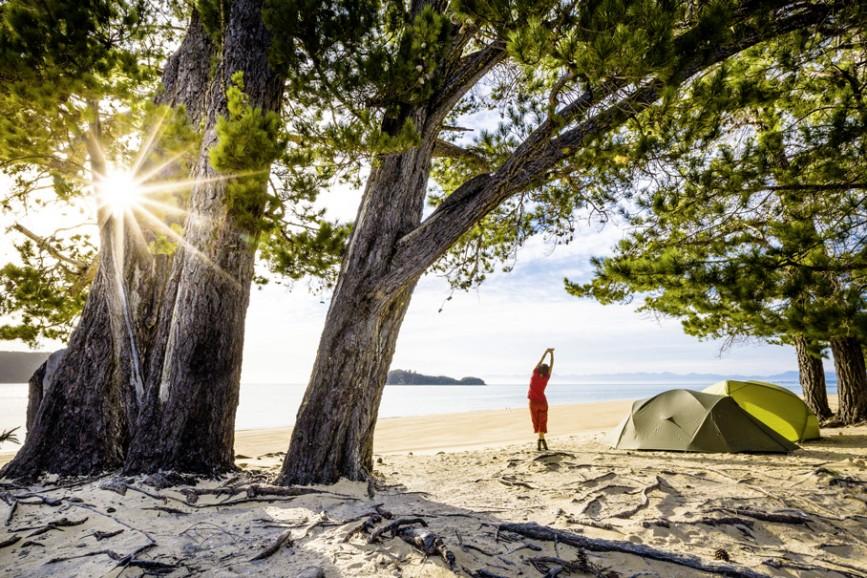 Der schönste Zeltplatz: Die Apple Tree Bay im Abel Tasman Nationalpark